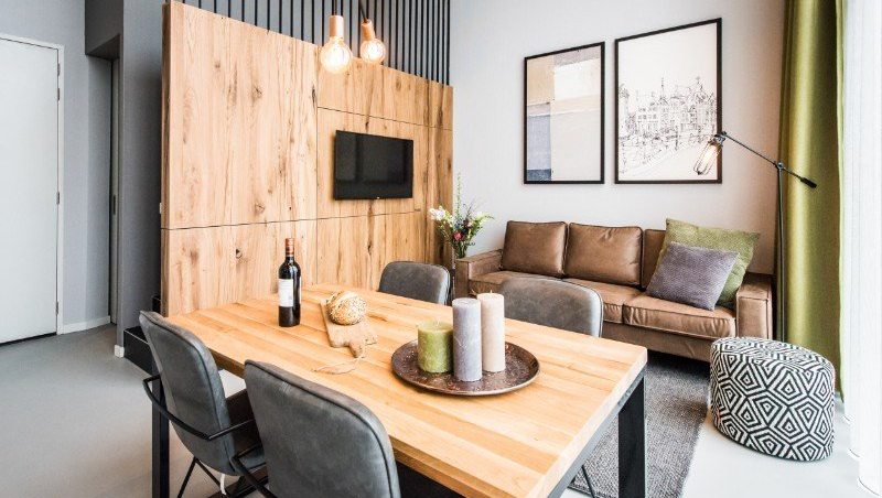 Stylish living area at Eastern Docklands Apartments, Amsterdam