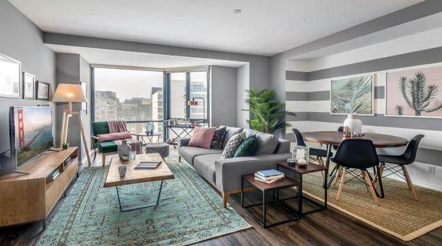 Living room at 1700 California Street Apartment