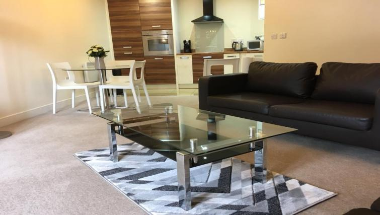 Modern living room at Wallis Square Serviced Apartments