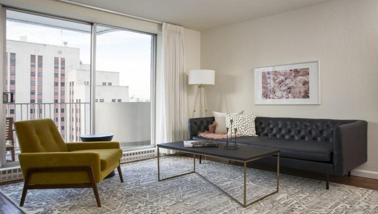 Living room at The Gateway Vista West Apartments