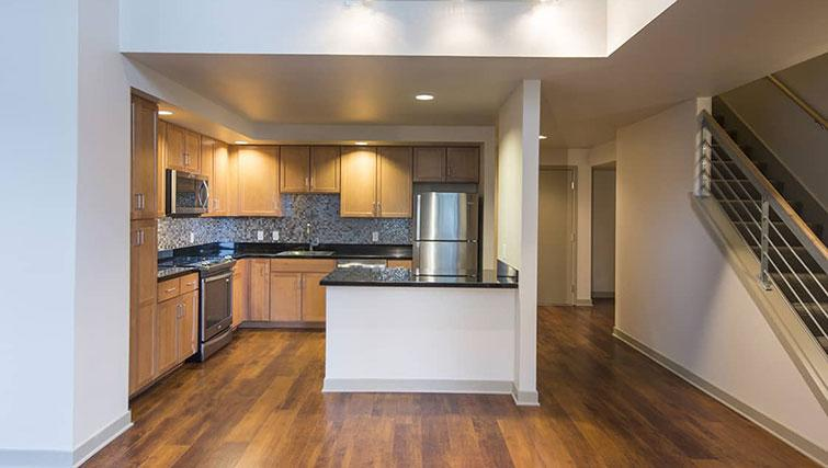Spacious kitchen at Edgewater NCH Apartment