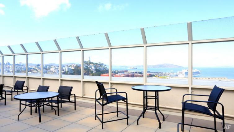 Outdoor terrace at The Gateway Vista North Apartment