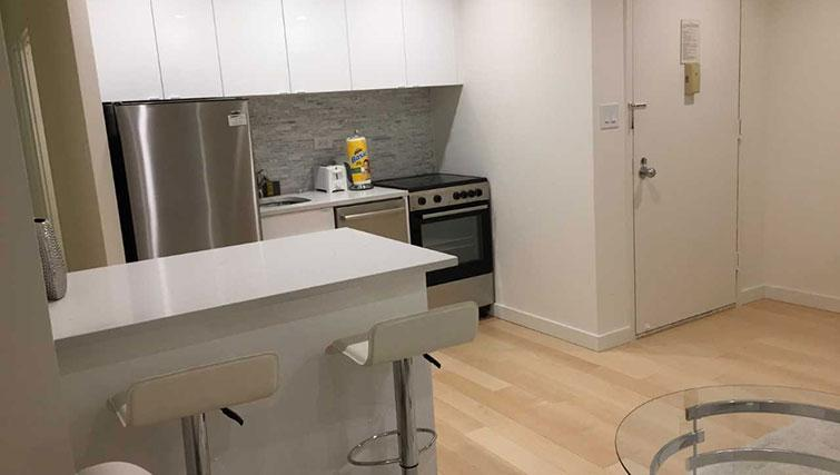 Equipped kitchen at Executive Plaza Apartments