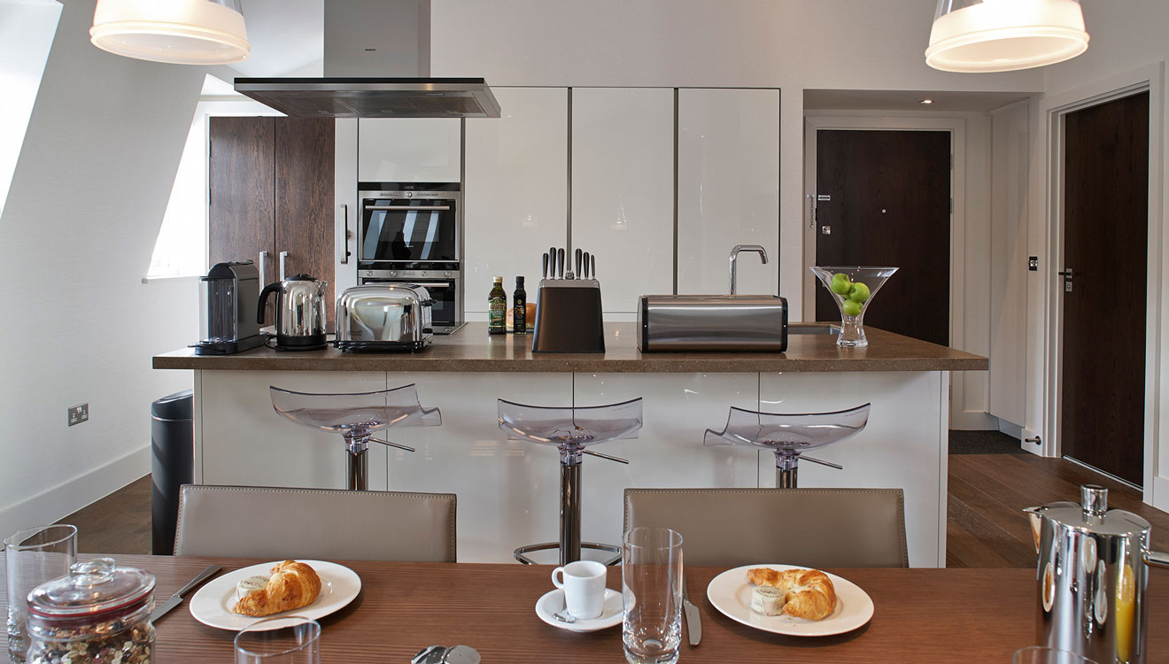 Equipped kitchen at 126 Cheval Brompton Road Apartments