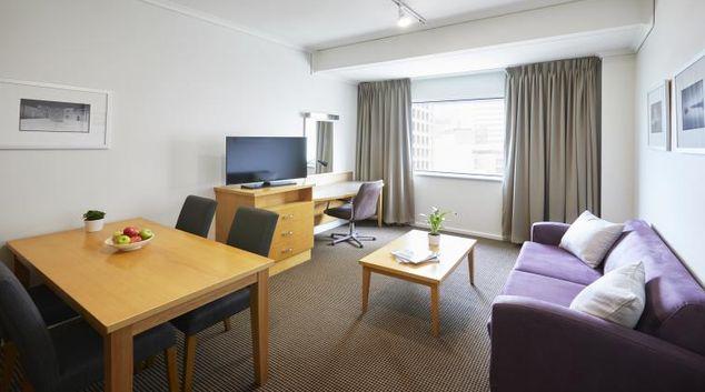 Living area at Novotel Perth Langley Apartments