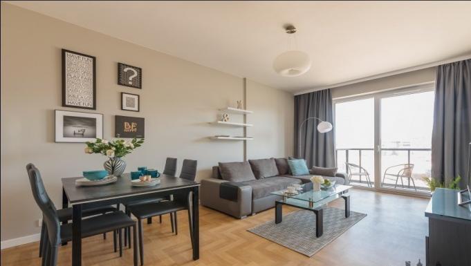 Living room at Konstruktorska Apartment