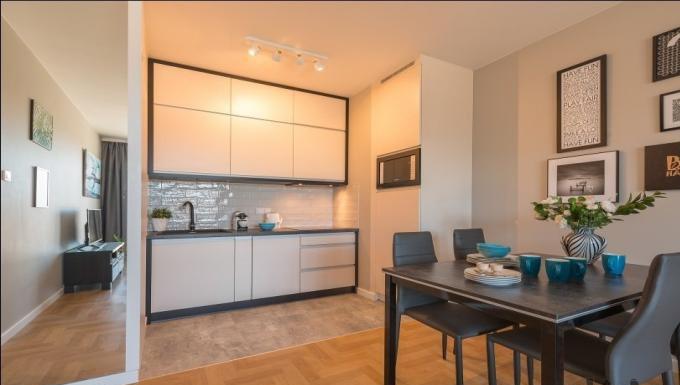 Living area at Konstruktorska Apartment