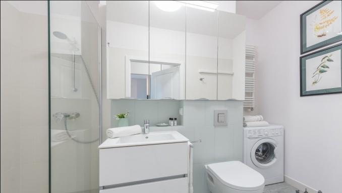 Bathroom at Konstruktorska Apartment