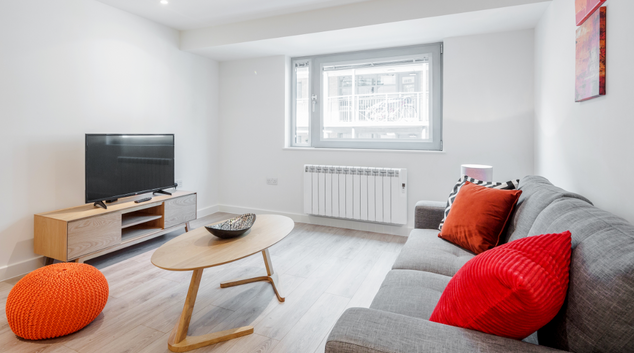 Living area at New Compton Apartments, Covent Garden, London