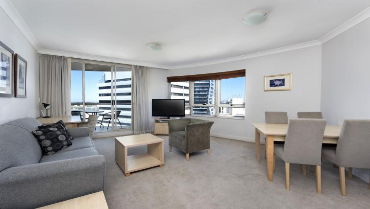 Spacious living area at Astra Chatswood Apartments