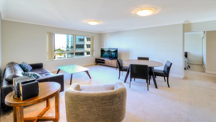 Bright lounge at Astra Chatswood Apartments