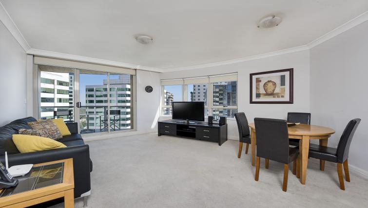 Living room at Astra Chatswood Apartments