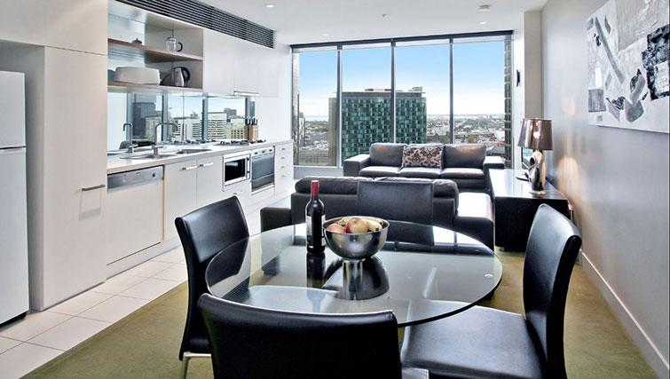 Living room at Freshwater Place Apartments