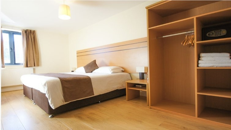 Spacious bedroom at Crompton Court Apartments