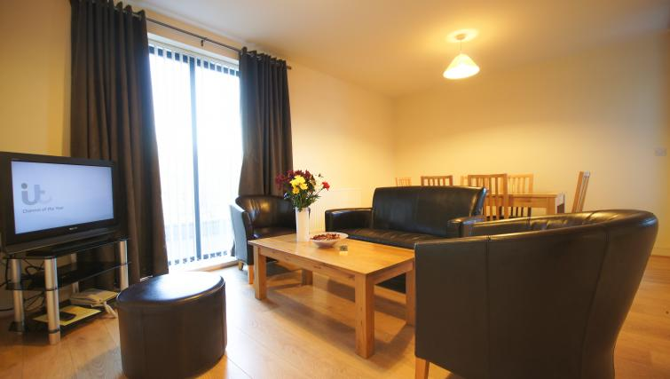 Simplistic living space at Crompton Court Apartments