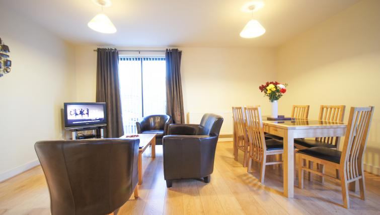 Spacious living and dining area at Crompton Court Apartments