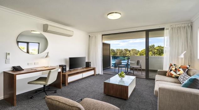 Living room at Quest Kelvin Grove Apartments