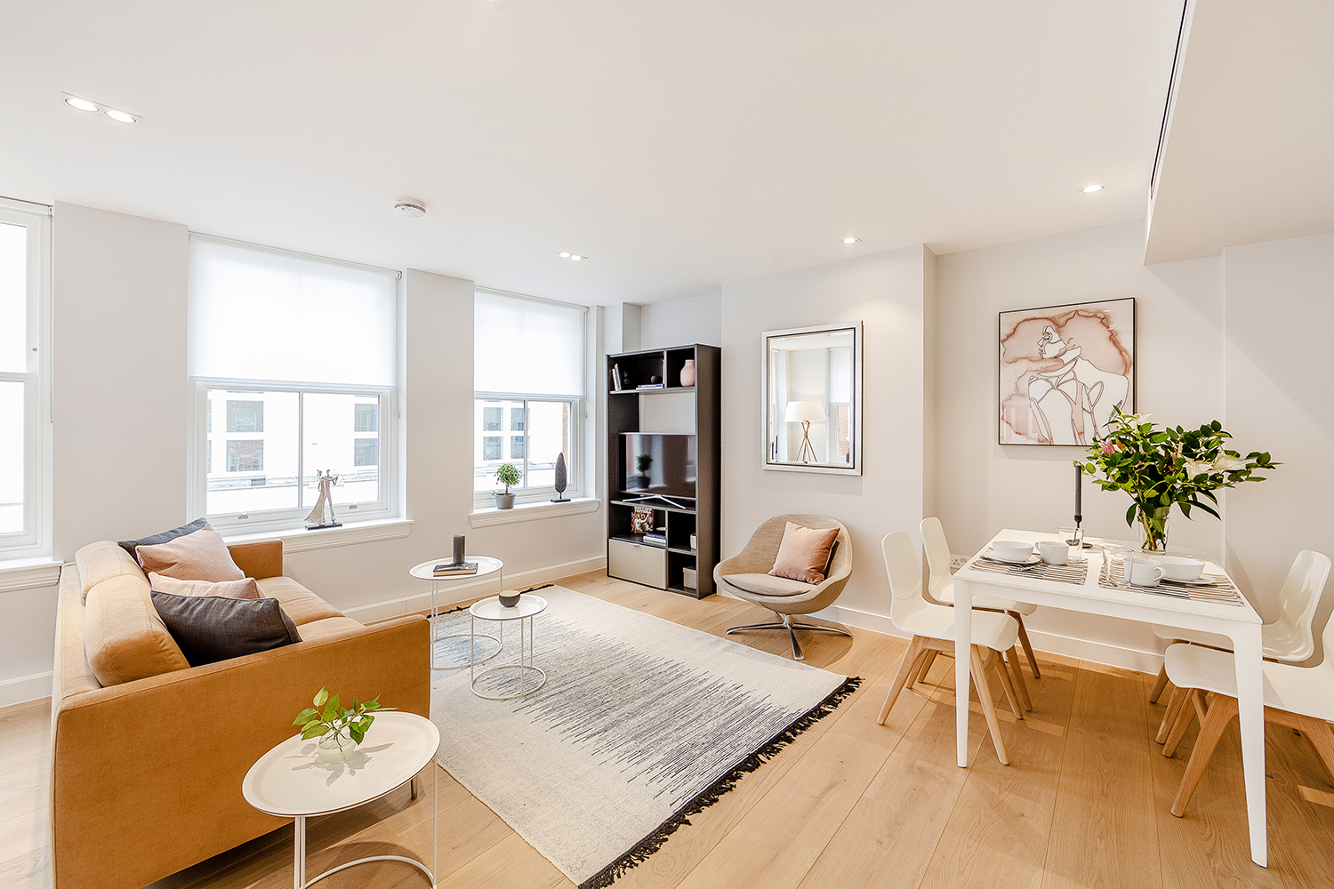Open-plan living space at Floral Street Serviced Apartments, Covent Garden, London