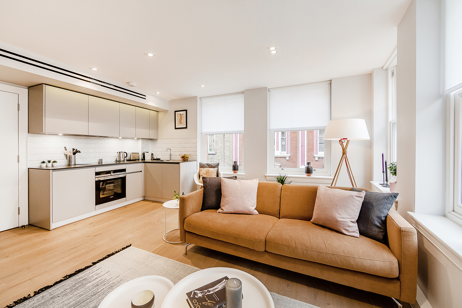 Leather sofa at Floral Street Serviced Apartments, Covent Garden, London