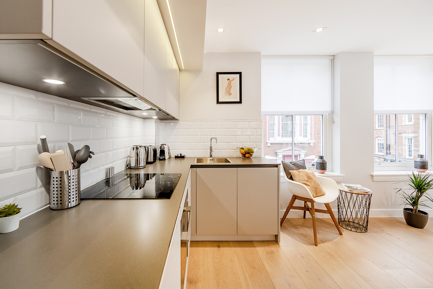 Bright kitchen at Floral Street Serviced Apartments, Covent Garden, London