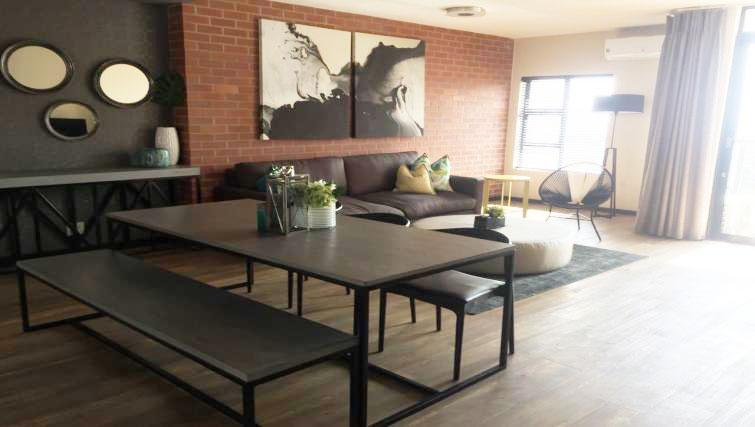 Modern living area at The Vantage Apartments