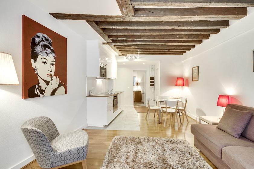 Living room at Rue d'Argout Apartments