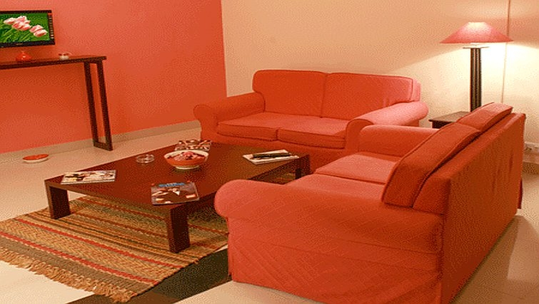 Vibrant living room in Residency Road Apartments