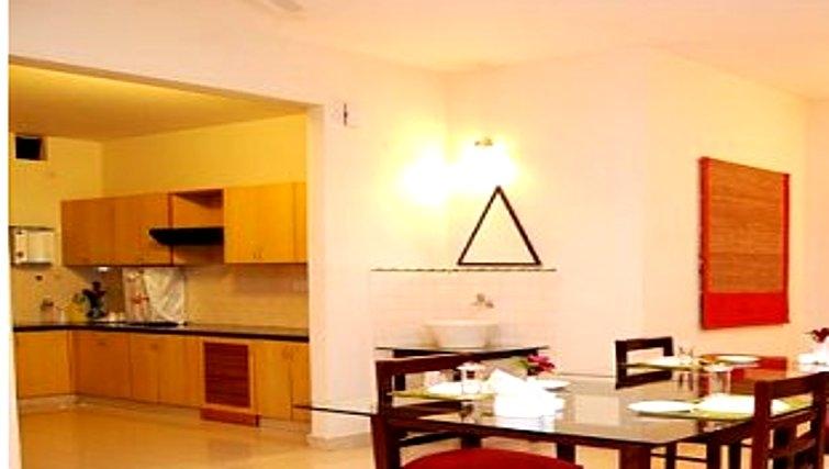 Open plan kitchen in Residency Road Apartments