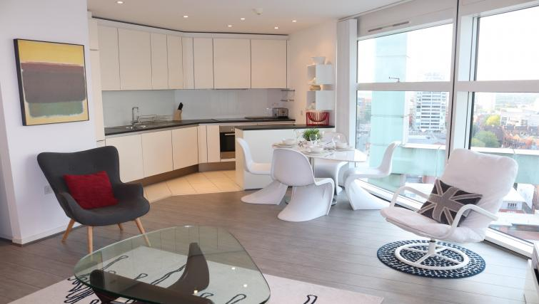 Spacious living area at Canalside Living Apartments