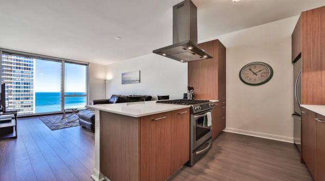 Living room at 500 Lakeshore Apartments