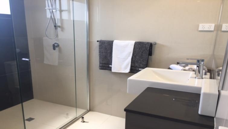 Shower at RNR Darwin Serviced Apartments