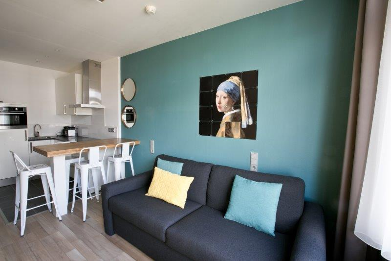 Open-plan living area  at Cityden Museum Square Apartments, Amsterdam