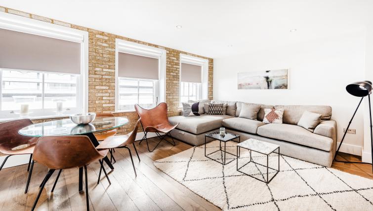 Living room at BE: Drury Lane Apartments