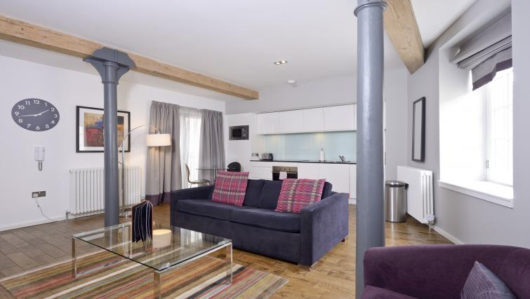 Modern living area at Malt House Apartments