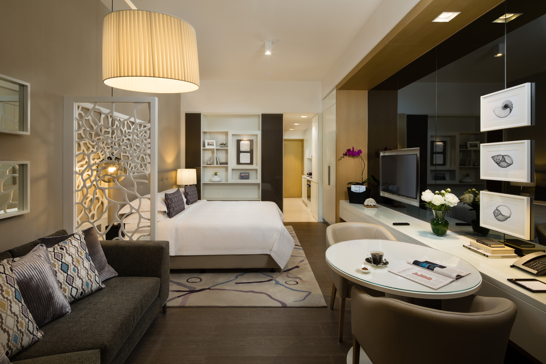Spacious bedroom at Beach Rotana Residences