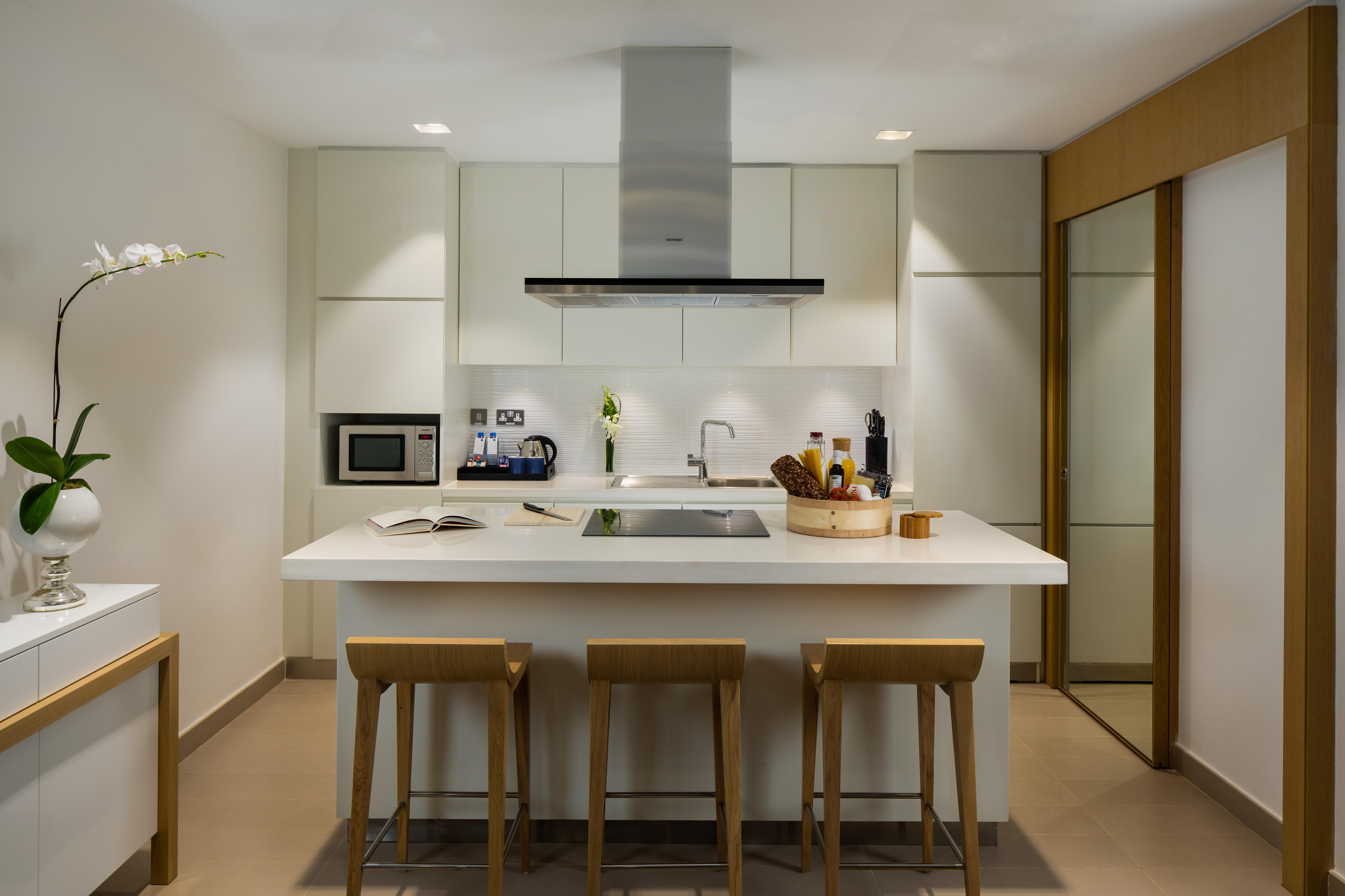 Modern kitchen at Beach Rotana Residences