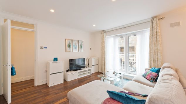 Spacious living area at Grand Canal Apartments