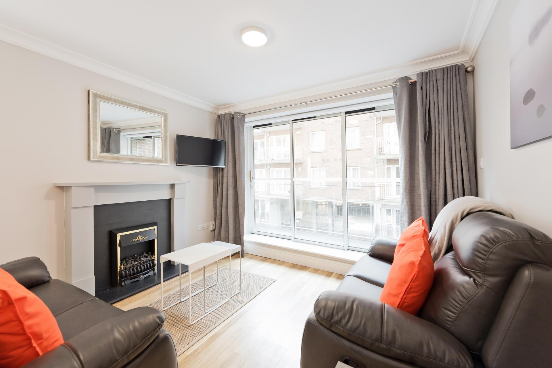 Bright lounge at Iveagh Court Apartments