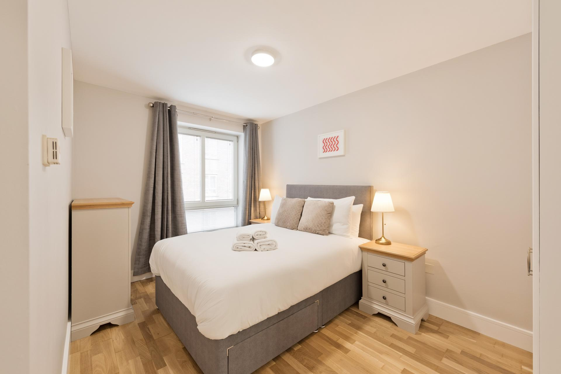Double bed at Iveagh Court Apartments