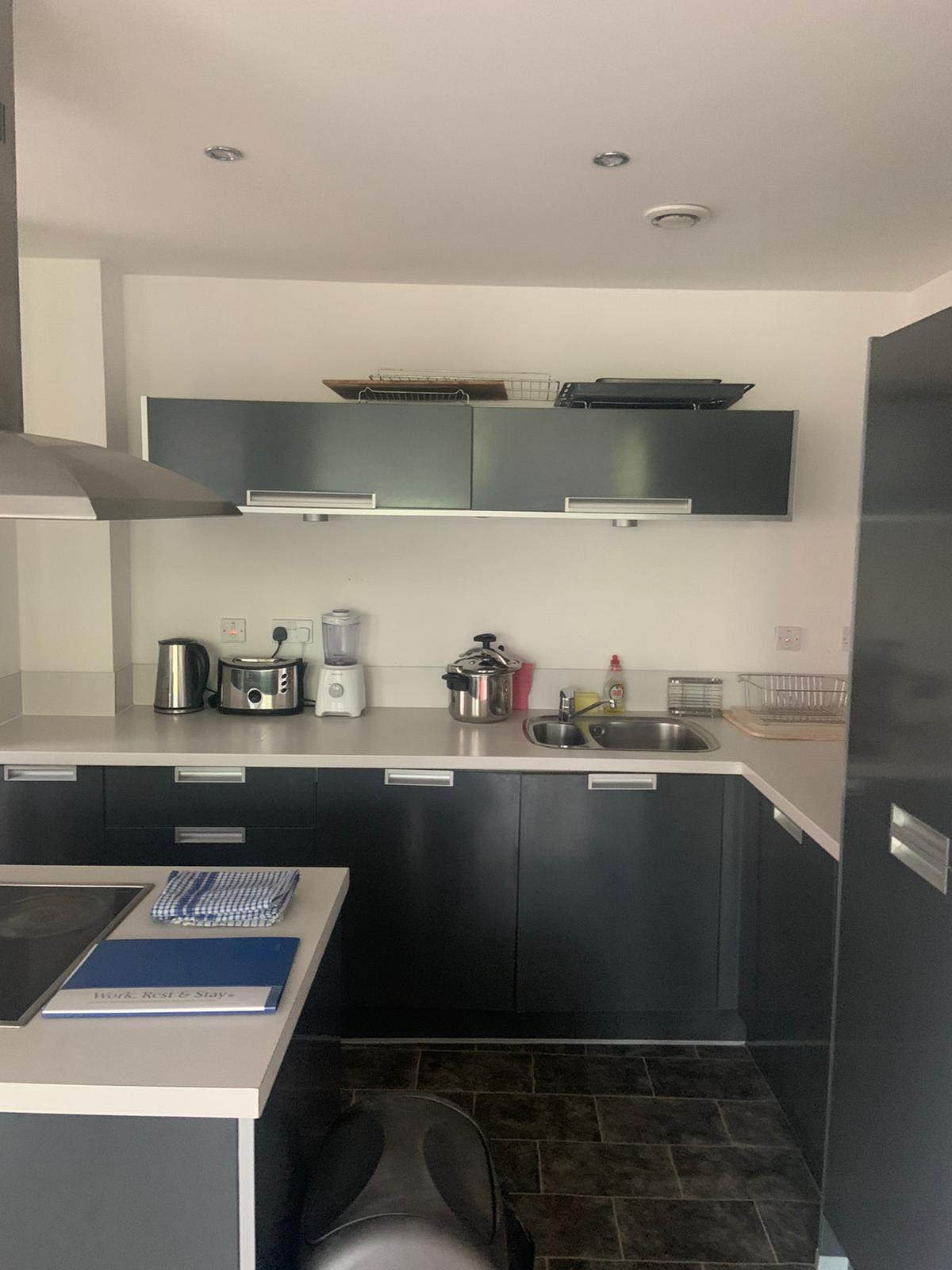 Modern kitchen at Ocean Village Serviced Apartments, Ocean Village, Southampton