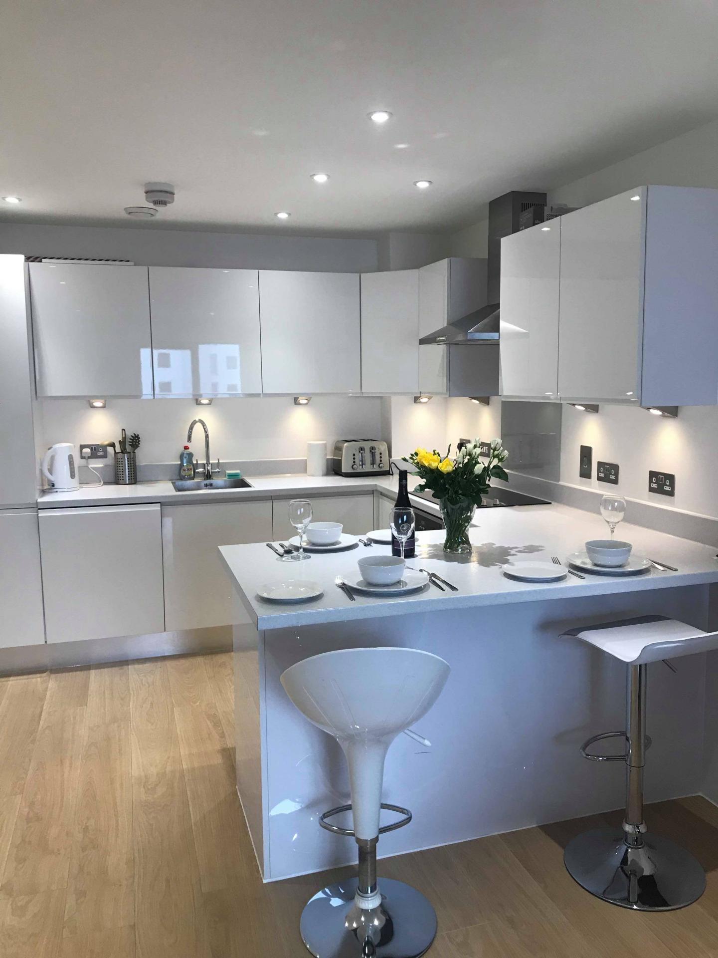 Kitchen at Ocean Village Serviced Apartments, Ocean Village, Southampton