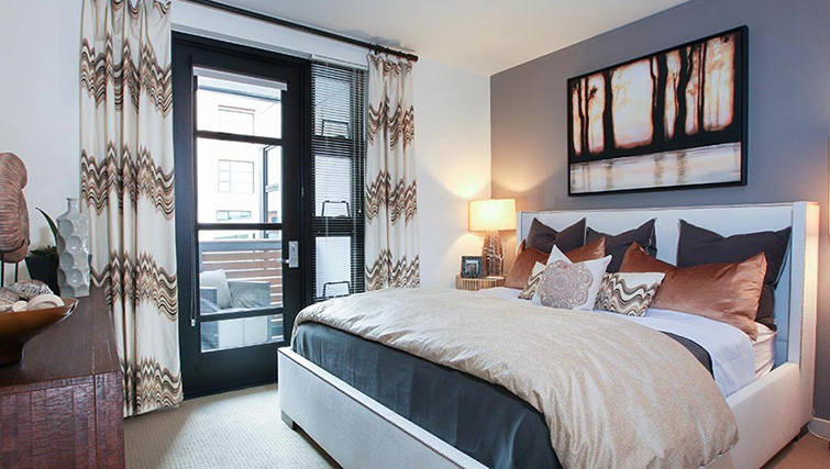 Modern bedroom at Venue Apartments