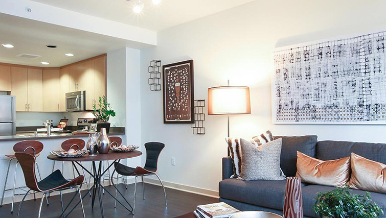 Modern living area at Venue Apartments