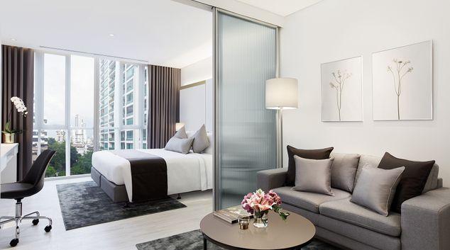 Living area at Somerset Maison Asoke Bangkok Apartments