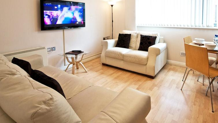 Stunning living area in Deansgate Apartments