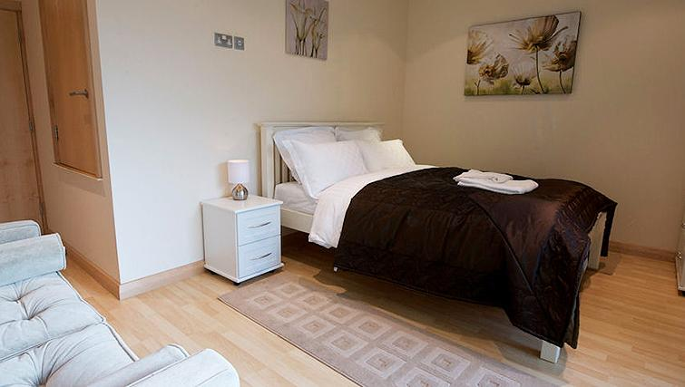 Compact bedroom at Deansgate Apartments