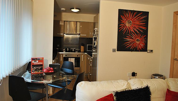 Open living area at Deansgate Apartments