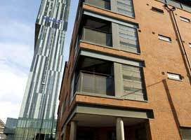 Exterior of Deansgate Apartments, Deansgate, Manchester