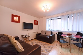 Expansive living area at Deansgate Apartments, Deansgate, Manchester