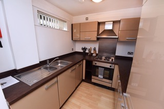 Modern kitchen at Deansgate Apartments, Deansgate, Manchester